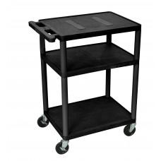 Luxor Endura Black A/V Cart W/ 3 Shelves