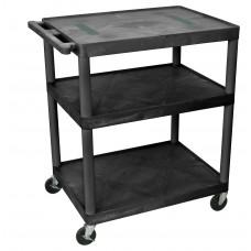 Luxor Black Endura Cart W/ 3 Shelves