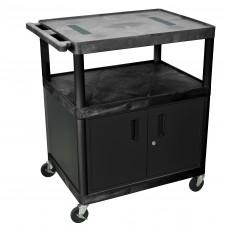 Luxor Black Endura Cart W/ 3 Shelves & Cabinet