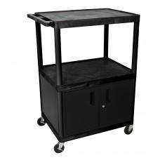 Luxor Black Endura 3 Shelf Cart W/ Cabinet