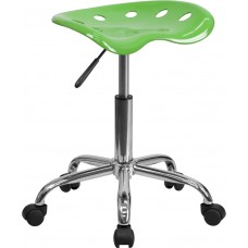 Vibrant Spicy Lime Tractor Seat and Chrome Stool [LF-214A-SPICYLIME-GG]