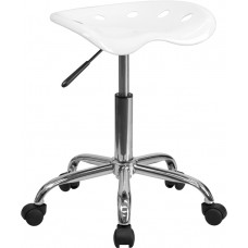 Vibrant White Tractor Seat and Chrome Stool [LF-214A-WHITE-GG]