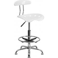Vibrant White and Chrome Drafting Stool with Tractor Seat [LF-215-WHITE-GG]