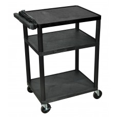 "Luxor Endura 3 Shelf Black Presentation Cart 34""H"