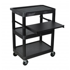 Luxor Black 3 Shelf Endura Presentation Cart
