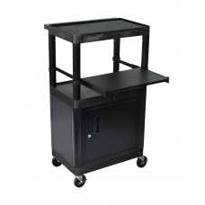Luxor Black 3 Shelf Endura Presentation Cart W/ Cabinet