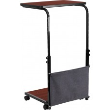 Mobile Sit-Down, Stand-Up Mahogany Computer Desk with Removable Pouch (Adjustable Range 27'' - 46.5'') [MT-6288-1-GG]