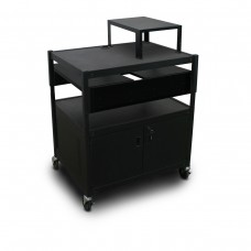 Adjustable Cart with 2 Pull-Out Side-Shelves, Cabinet,  Expansion Shelf, and Electrical