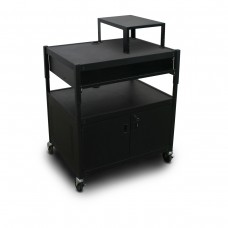 Adjustable Cart with 1 Pull-Out Front-Shelf, Cabinet,  Expansion Shelf, and Electrical