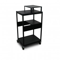 Cart with 1 Pull-Out Side-Shelf, Expansion Shelf, and Electrical
