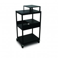 Cart with 2 Pull-Out Side-Shelves, Expansion Shelf, and Electrical