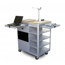 Vizion Presenter Multimedia Cart with Acrylic Doors, Four Side Shelves, - (Kensington Maple Laminate)