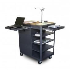 Vizion Presenter Multimedia Cart with Steel Doors, Four Side Shelves,  - (Oak Laminate)