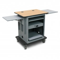 "Marvel Vizion  Instructor Series Teacher Workstation - Silver,  14""W x 14.5""D Adjustable Height Side Shelf, 16""W x 17.5""D Slow Close Shelf"