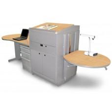 Teacher's Desk with Media Center, Steel Doors - Dark Neutral Finish/Kensington Maple Laminate