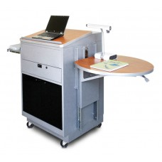 Media Center Cart with Lectern and Acrylic Doors - Silver Finish/Cherry Laminate