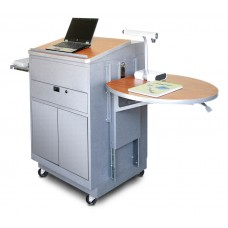 Media Center Cart with Lectern and Steel Doors - Silver Finish/Cherry Laminate