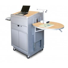 Media Center Cart with Lectern and Steel Doors - Silver Finish/Kensington Maple Laminate