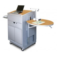 Media Center Cart with Lectern and Steel Doors - Silver Finish/Oak Laminate