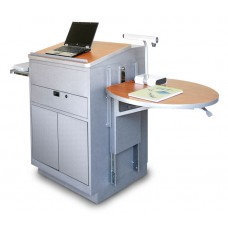 Media Center Lectern (Stationary) with Steel Doors - Silver Finish/Cherry Laminate