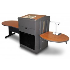Marvel Vizion Keyhole  Table with Media Center and Lectern, Adjustable Height Platform, Acrylic Doors - (Cherry Laminate)