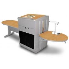 Peninsula Table with Media Center and Lectern, Adjustable Height Platform, Acrylic Doors  - (Oak Laminate)