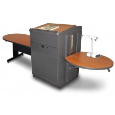 Peninsula Table with Media Center and Lectern, Adjustable Height Platform, Steel Doors - (Cherry Laminate)