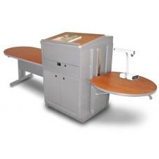 Peninsula Table with Media Center and Lectern, Adjustable Height Platform, Steel Doors - (Kensington Maple Laminate)