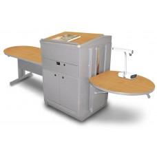 Peninsula Table with Media Center and Lectern, Adjustable Height Platform, Steel Doors  - (Oak Laminate)