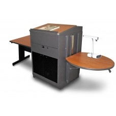 Rectangular Table with Media Center and Lectern, Adjustable Height Platform, Acrylic Doors - (Cherry Laminate)