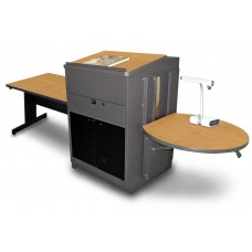 Rectangular Table with Media Center and Lectern, Adjustable Height Platform, Acrylic Doors  - (Oak Laminate)