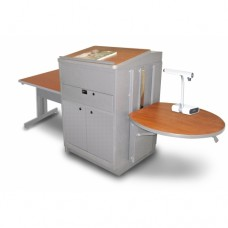 Rectangular Table with Media Center and Lectern, Adjustable Height Platform, Steel Doors - (Cherry Laminate)