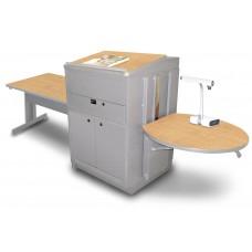 Rectangular Table with Media Center and Lectern, Adjustable Height Platform, Steel Doors - (Kensington Maple Laminate)
