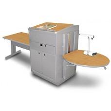 Rectangular Table with Media Center and Lectern, Adjustable Height Platform, Steel Doors - (Oak Laminate)