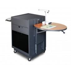 Media Center Cart with Acrylic Doors - Dark Neutral Finish/Cherry Laminate