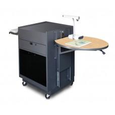 Media Center Cart with Acrylic Doors - Dark Neutral Finish/Kensington Maple Laminate