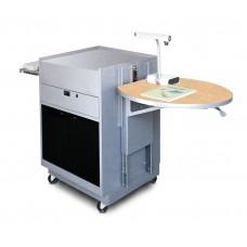 Media Center Cart with Acrylic Doors - Silver Finish/Kensington Maple Laminate