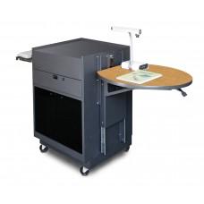 Media Center Cart with Acrylic Doors - Dark Neutral Finish/Oak Laminate