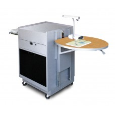 Media Center Cart with Acrylic Doors - Silver Finish/Oak Laminate