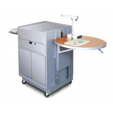 Media Center Cart with Steel Doors - Silver Finish/Cherry Laminate
