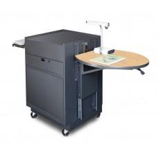 Media Center Cart with Steel Doors - Dark Neutral Finish/Kensington Maple Laminate