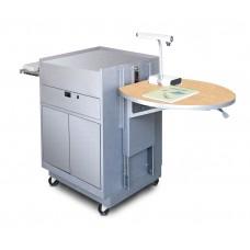 Media Center Cart with Steel Doors - Silver Finish/Kensington Maple Laminate