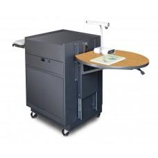 Media Center Cart with Steel Doors - Dark Neutral Finish/Oak Laminate