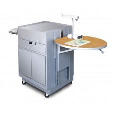 Media Center Cart with Steel Doors - Silver Finish/Oak Laminate