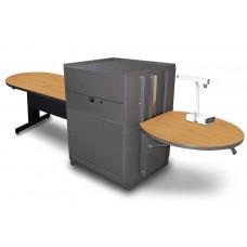 Peninsula Table with Media Center, Adjustable Height Platform, Steel Doors - (Oak Laminate)