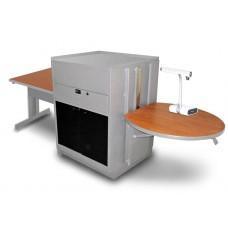 Rectangular Table with Media Center, Adjustable Height Platform, Acrylic Doors - (Cherry Laminate)
