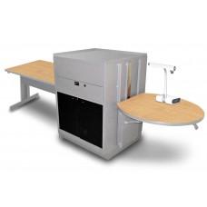 Rectangular Table with Media Center, Adjustable Height Platform, Acrylic Doors - (Kensington Maple Laminate)