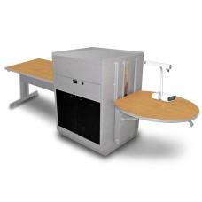 Rectangular Table with Media Center, Adjustable Height Platform, Acrylic Doors - (Oak Laminate)