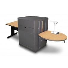 Rectangular Table with Media Center, Adjustable Height Platform, Steel Doors - (Kensington Maple Laminate)