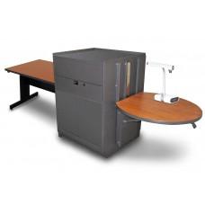Rectangular Table with Media Center, Adjustable Height Platform, Steel Doors - (Cherry Laminate)
